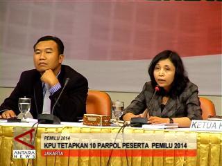 KPU Tetapkan 10 Parpol Peserta Pemilu 2014